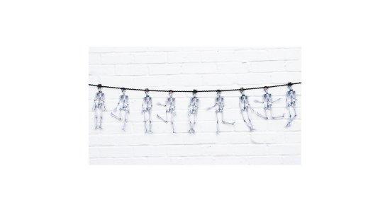 Skeletter guirlande. 30 cm høje skeletter på 3 m snøre.