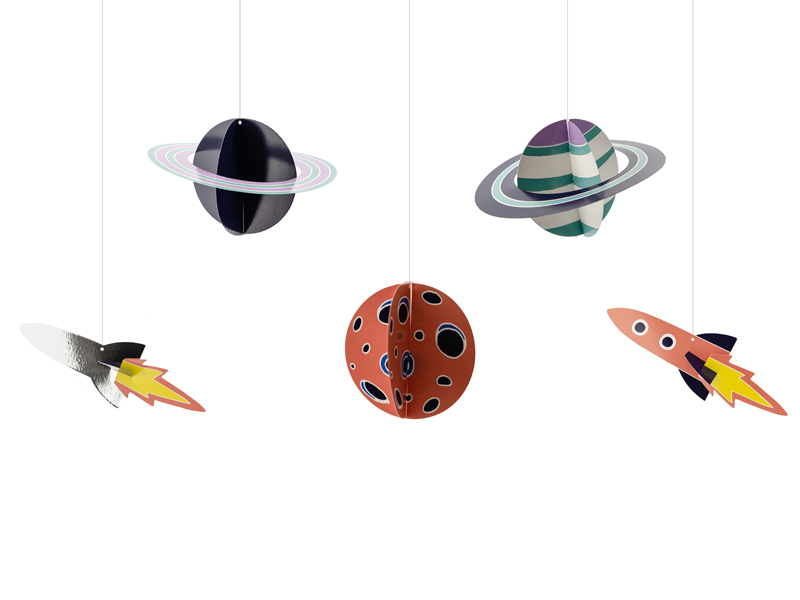 Space planet og raket dekoration til ophæng, 5 stk