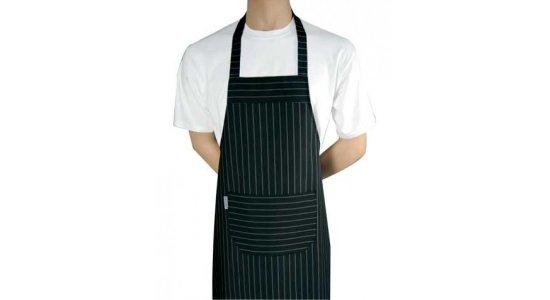 Kokke forklæde m. smæk, sort med grå striber