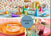 Skinnende guldfarvet party