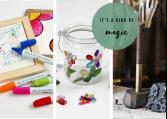 Kreativ hobbyartikler og materialer til at dekorere.