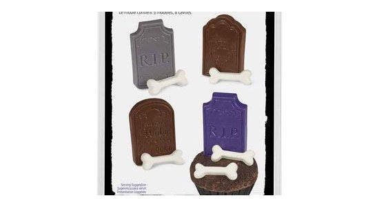 Chokoladeform, Gravsten og knogler. Halloween.