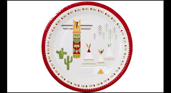 Indianer temafest paptallerken. 12 stk