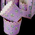 Faste muffinforme. Lilla vintage med blomster. 12 stk
