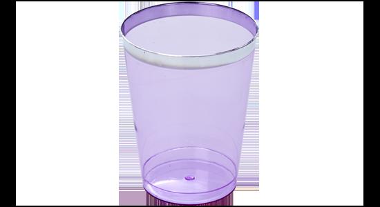 Plastik engangsglas.Sølv kant.Lavendel. 6 stk