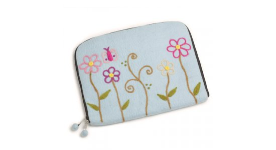 Laptop Sleeve. Blue Flower. En gry og sif.