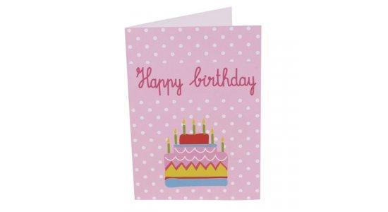 Happy Birthday kort, lyserød