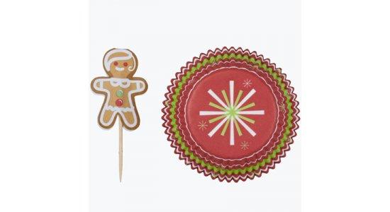 Muffinforme m. honningkagemand kageflag. Juletema