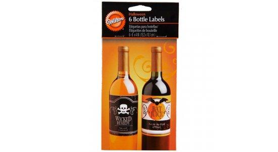 Halloween labels til flasker. 6 stk i pakken.