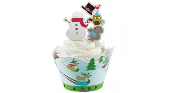Vintertema Cupcake wrap med kagepynt pix.