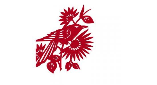 Kvalitets designerkort i guldfarvet kuvert, rød