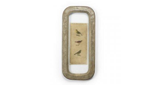 Rustik slidt sølv glasramme, Fugle. Nordal