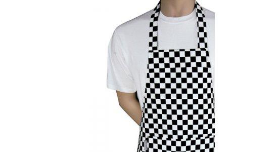 Kokke forklæde med smæk, sort/hvid ternet.Chaud Devant