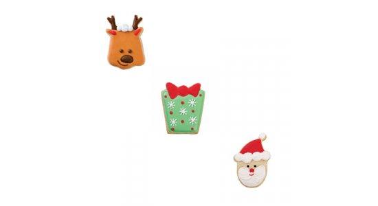 Udstikkere til julemand, gave, rensdyr. JUL