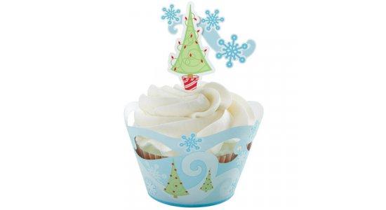 SNOWFLAKE Cupcake wrap med kagepynt pix.