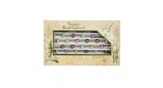 Vintage Guirlande med små sølv og pastel perler