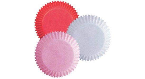 Muffin papirforme, rød, lyserød, hvid