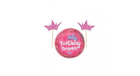 Prinsesse Muffinforme m. prinsessekrone kageflag