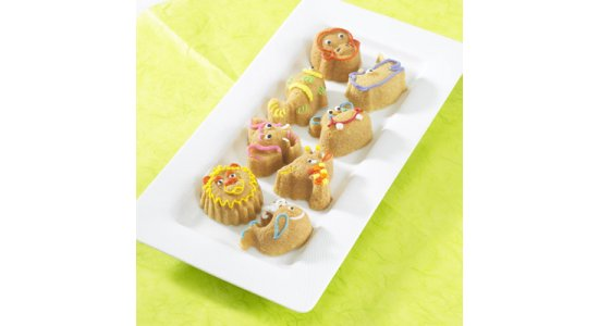 Bageform til 6 dyr. Zoo muffins.