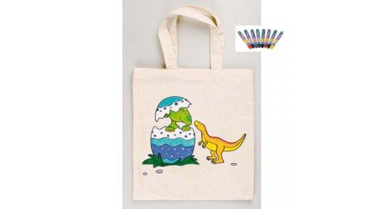 Lille mulepose og textilfarver. Dinosaurus.
