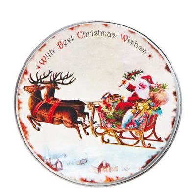 Metal æske med julemand i kane. Nordal.