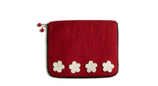 Laptop sleeve. Red Flower. En gry og sif.