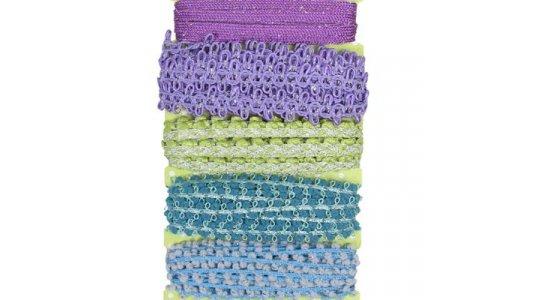 Gavebånd i blå, lilla, grønne nuancer