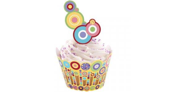 Sweet Dots Cupcake wrap med kagepynt pix.
