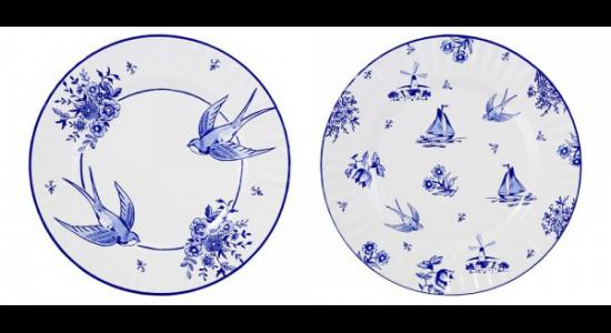 Ekstra store paptallerkener, Blue Porcelain, 8 stk