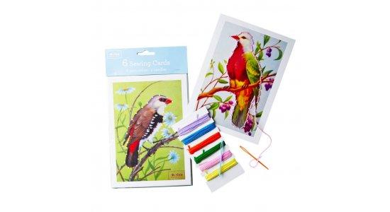 Sykort med smukke fugle, 6 kort med tråd og nåle