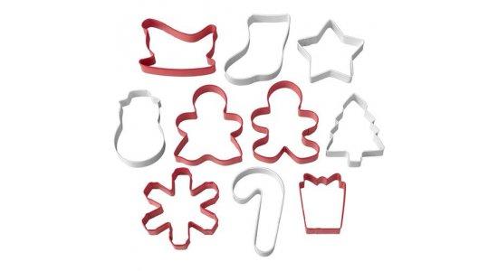 Juletema udstikkere,Metal .Røde/hvide. 10 stk